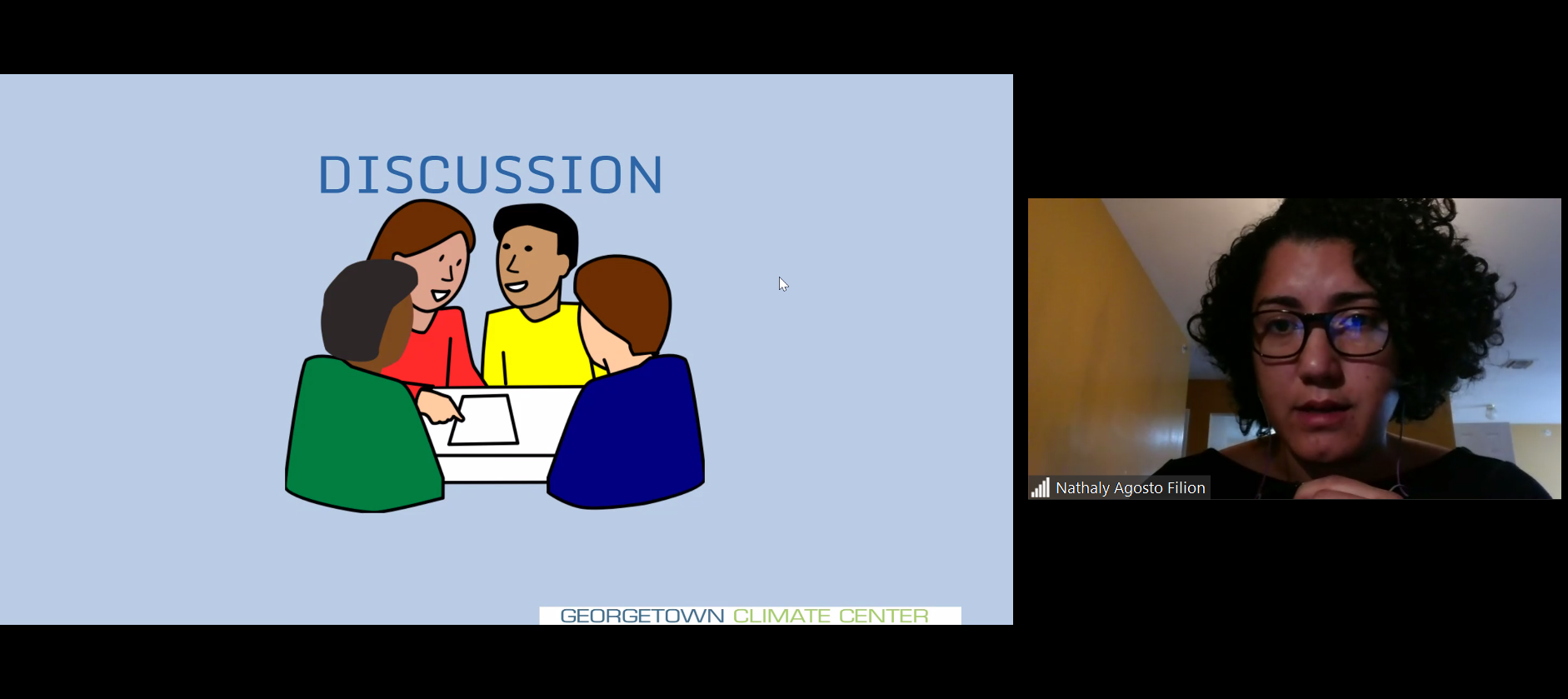 "A split screen image shows Nathaly Agosto on the left asking a question, and on the left, a powerpoint slide labeled, ""discussion."""