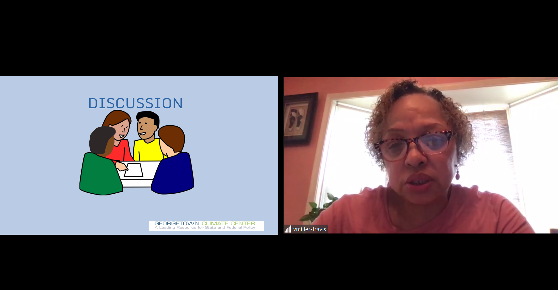 "A split screen image shows Vernice Miller-Travis on the right asking a question, and on the left, a powerpoint slide labeled, ""discussion."""