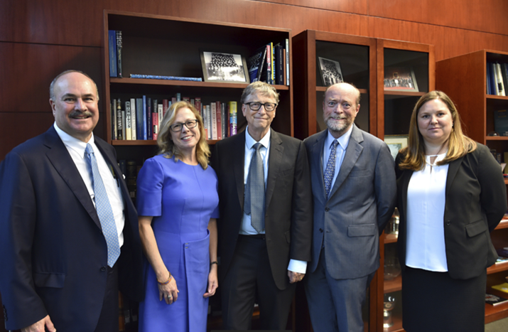From left to right: Georgetown Law Alumn Clint Vince, U.S. Energy Practice, Dentons; GCC Executive Director Vicki Arroyo; Bill Gates; Georgetown Law Dean William Treanor; Georgetown University Professor Joanna Lewis