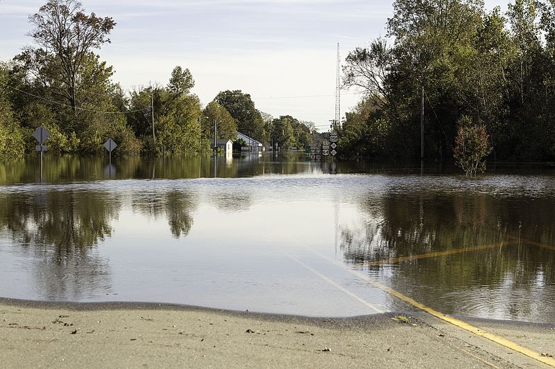 A flooded road in Princeville, North Carolina after Hurricane Matthew