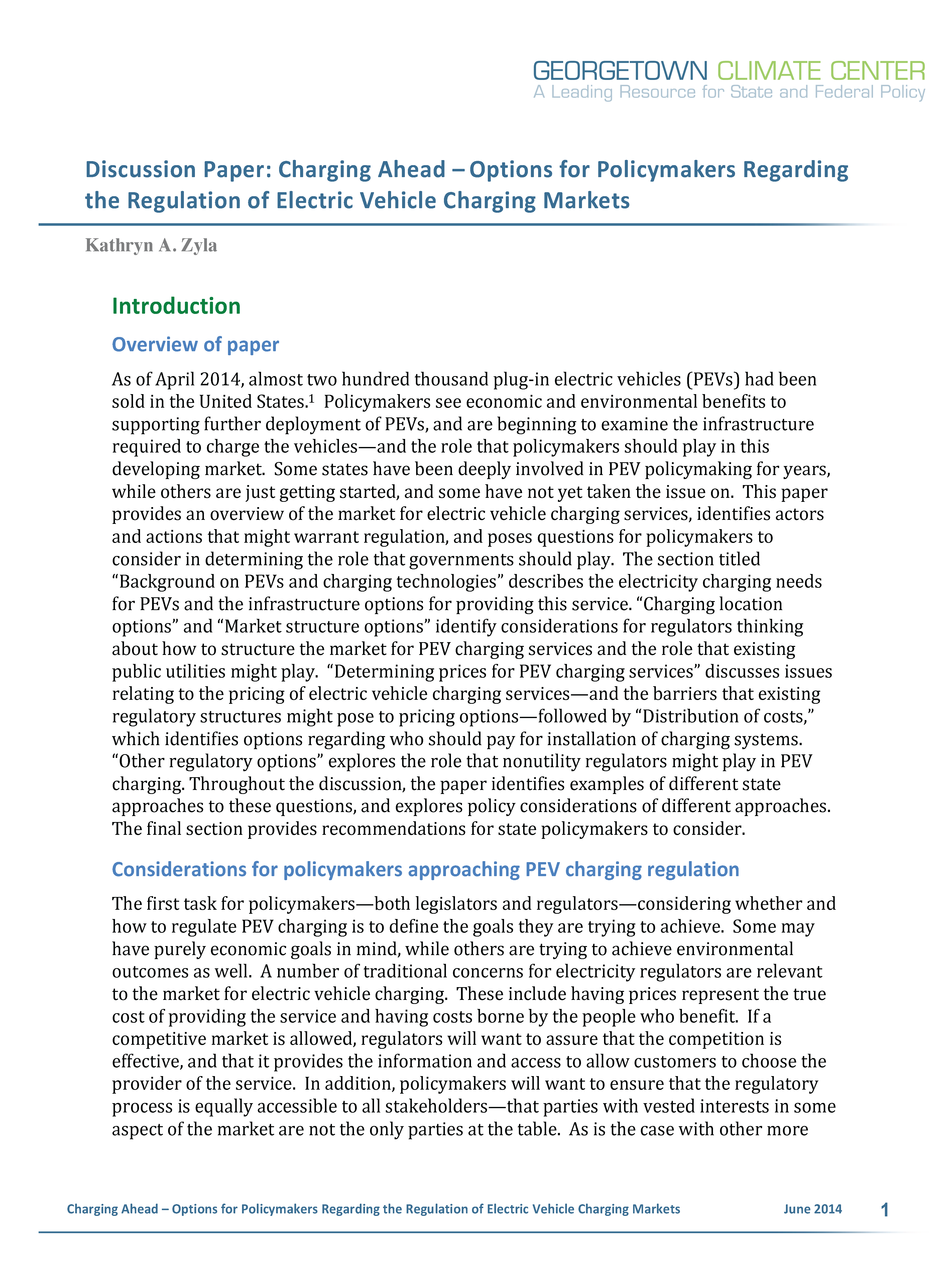 Charging Ahead – Options for Policymakers Regarding the Regulation of Electric Vehicle Charging Markets
