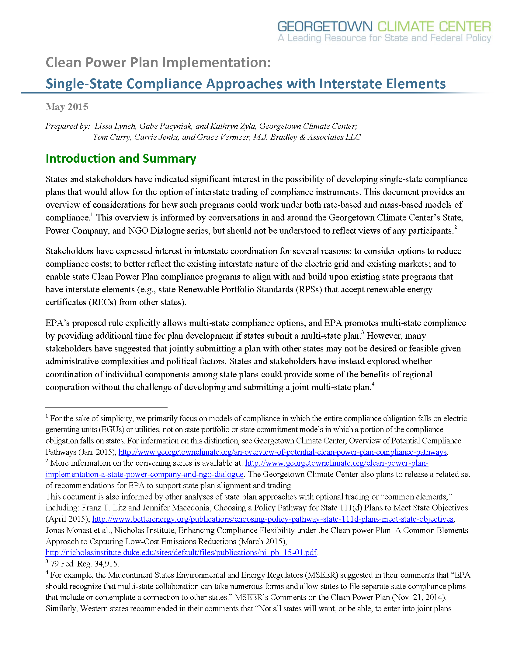 Single State Clean Power Plan Compliance Approaches with Interstate Elements