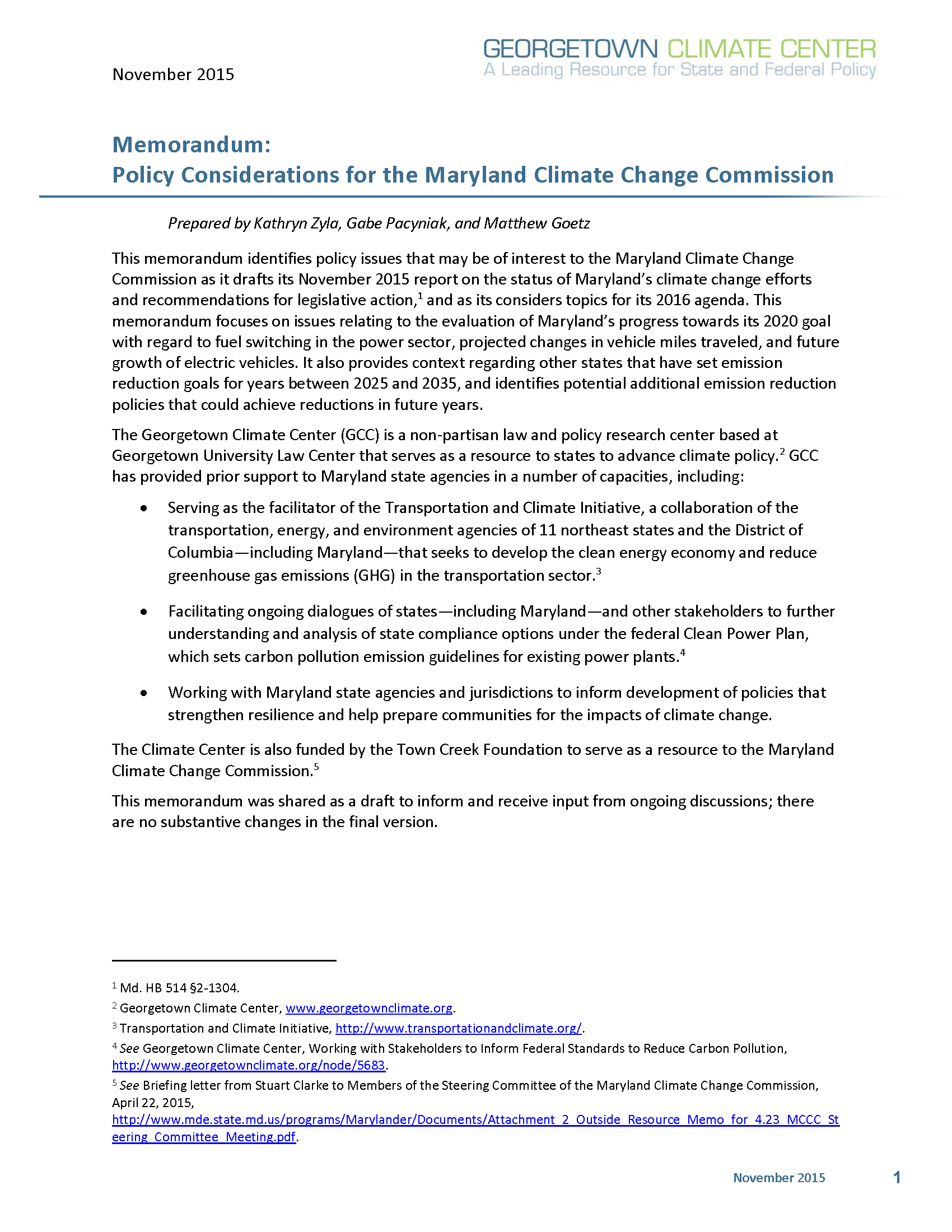 Memorandum: Policy Considerations for the Maryland Climate Change Commission